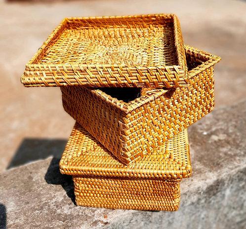 Haastika Golden Grass Square Box (Golden)