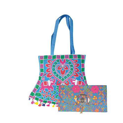 Haastika Tote Bag With Embroidered Work Party Clutch or Hand Purse For Women