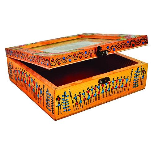 Haastika Handmade Wooden Tribal Print Jewellery Box/Jewellery Organizer Box