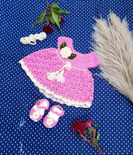 Haastika Woolen Baby Dress with Booties for 3 Months
