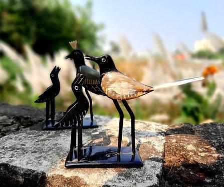 Haastika Horn Craft Mother Bird Feeding Food to her Baby Child showpiece
