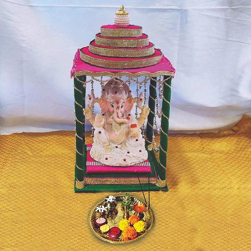 Haastika Gold Plated Brass Pooja Thali Set