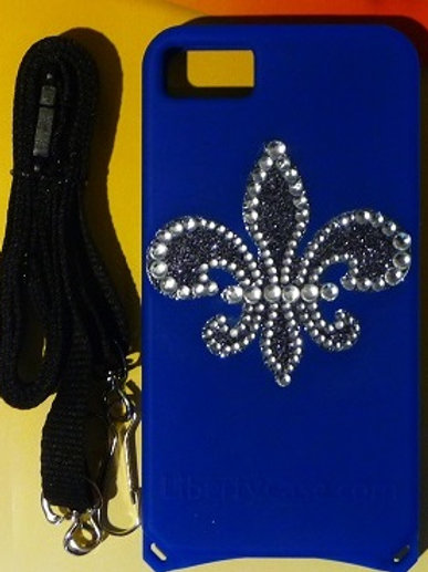 Blue Bling Fleur de Lis iPhone 4/4s Case