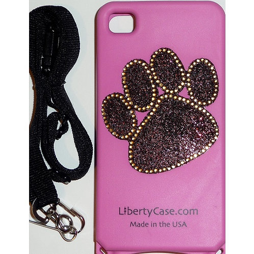 Pink Bling Paw Print iPhone 4/4s Case