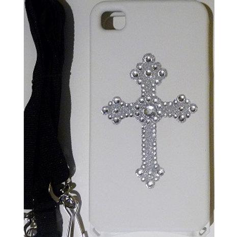 White Bling Cross iPhone 4/4s Case