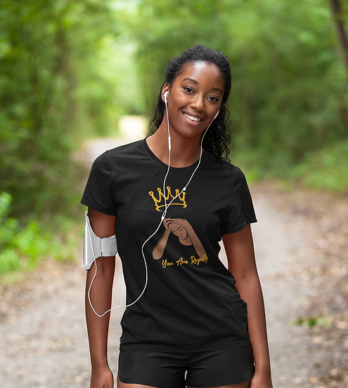 Black Tee Shirt With You Are Royalty Queen Graphic