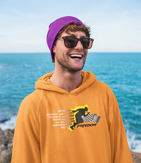 Orange Hoodie with Male Freedom Graphic