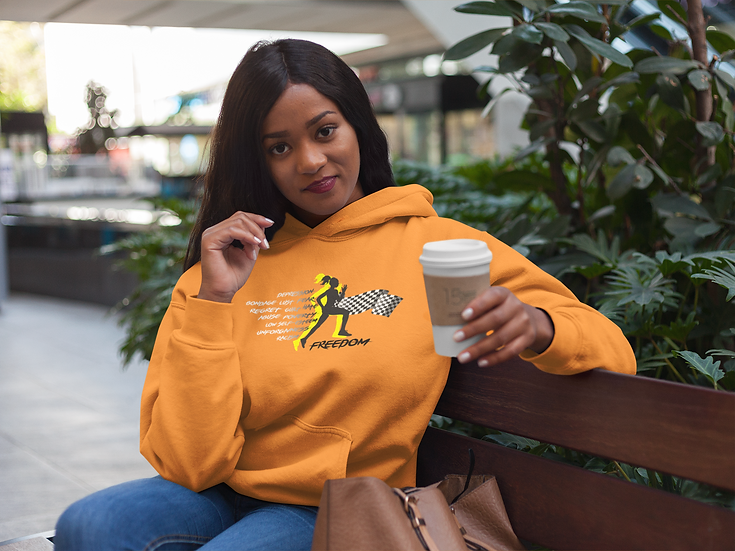 Orange Hoodie with Female Freedom Graphic