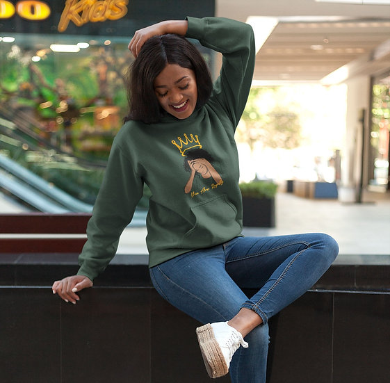 Forest Green Hoodie with You Are Royalty Queen Graphic