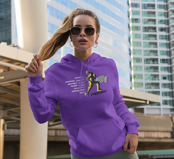 Purple Hoodie with Female Freedom Graphic
