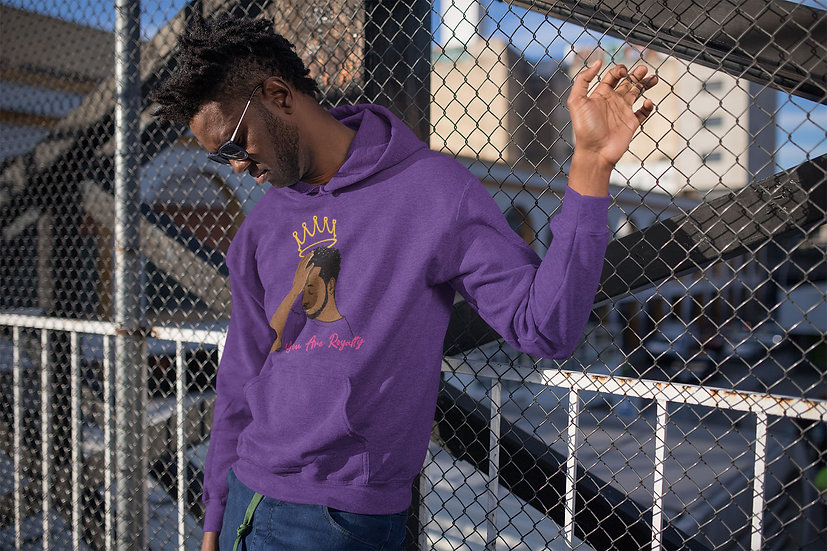 Purple Hoodie with You Are Royalty Male Graphic