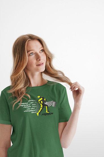 Irish Green Tee Shirt with Female Freedom Graphic