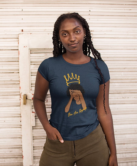 Navy Tee Shirt with You Are Royalty Female Graphic