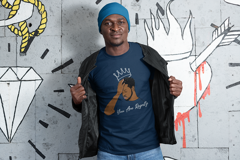 Navy Tee Shirt with You Are Royalty King Graphic