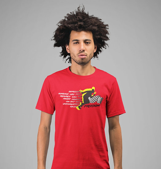 Red Tee Shirt with Male Freedom