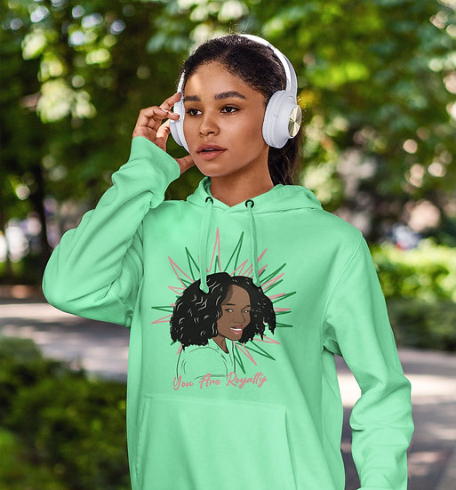 Mint Green Hoodie with You Are Royalty Girls Graphic
