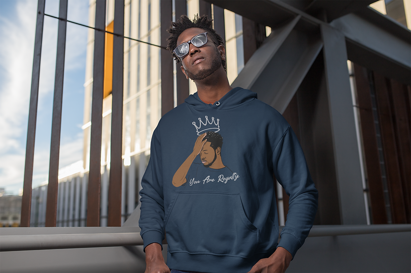 Navy Hoodie with You Are Royalty King Graphic