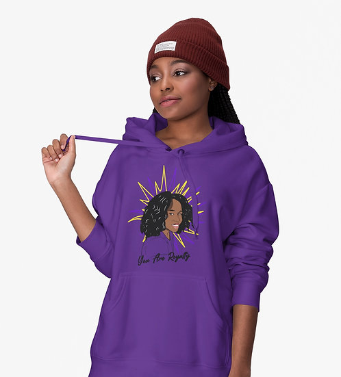 Purple Hoodie with You Are Royalty Girls Graphic