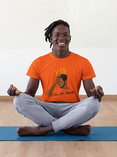 Orange Tee Shirt with You Are Royalty Male Graphic