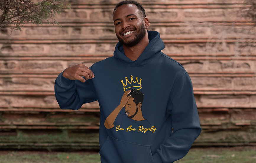 Navy Hoodie with You Are Royalty Male Graphic