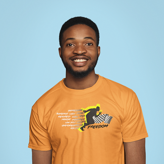 Orange Tee Shirt with Male Freedom Graphic