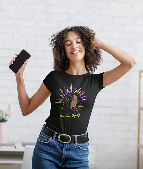 Black Tee Shirt With You Are Royalty Girls Graphic