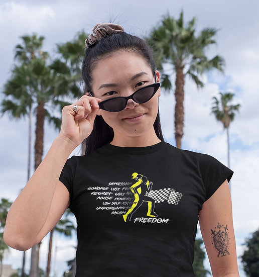 Black Tee Shirt with Female Freedom Graphic
