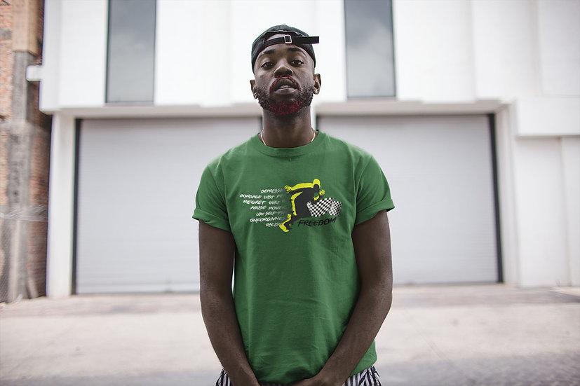 Irish Green Tee Shirt with Male Freedom Graphic