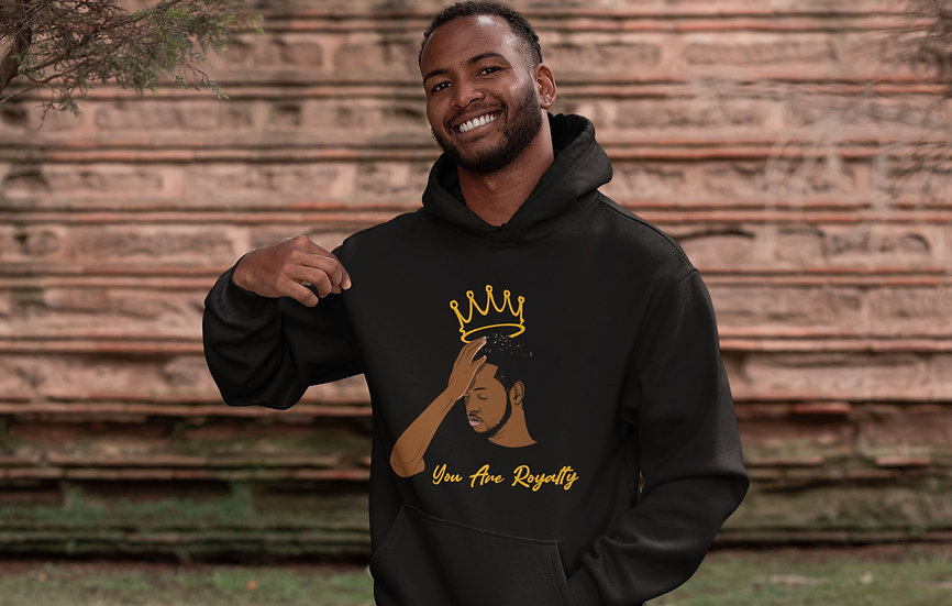 Black Hoodie with You Are Royalty Male Graphic
