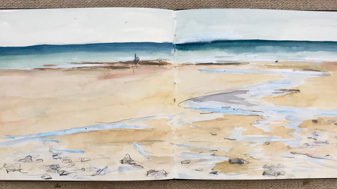 Fabulous morning at Widemouth Bay, Bude. Couple of more sketches.