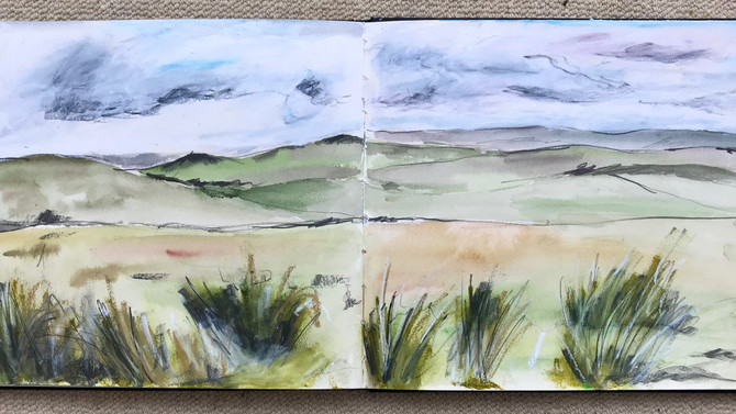 Lovely walk near Princetown followed by a sketch in watercolour/oil pastel and graphite.