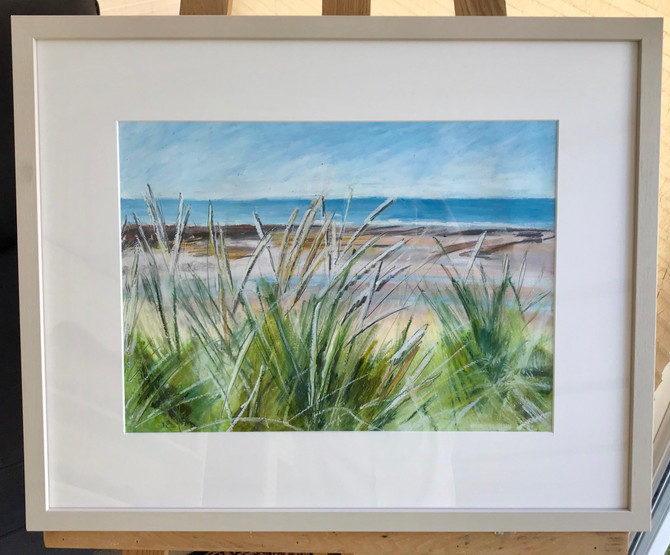 Latest framed picture! Oil pastel/graphite drawing of grass/dunes, Widemouth Bay, Bude, Cornwall. 57