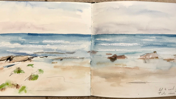 Another glorious morning at Bude! Quick sketch as the Tide was coming in fast, followed by sketch of