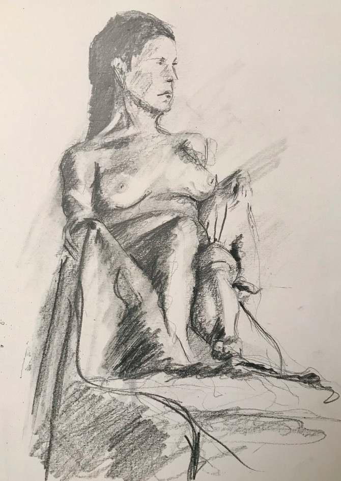 Latest life drawing sketch. Forgot my oil pastels tonight 🤪.