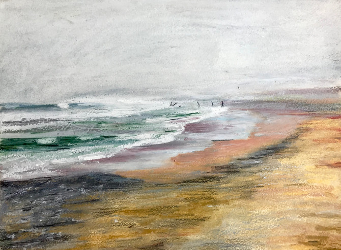 Finished! Misty day at Widemouth Bay, Bude. Oil pastel and graphite sketch. More to follow.