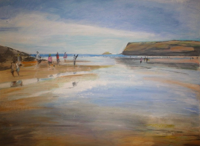Polzeath! Happy memories of drawing this image. Oil pastel and graphite. Framed and for sale!