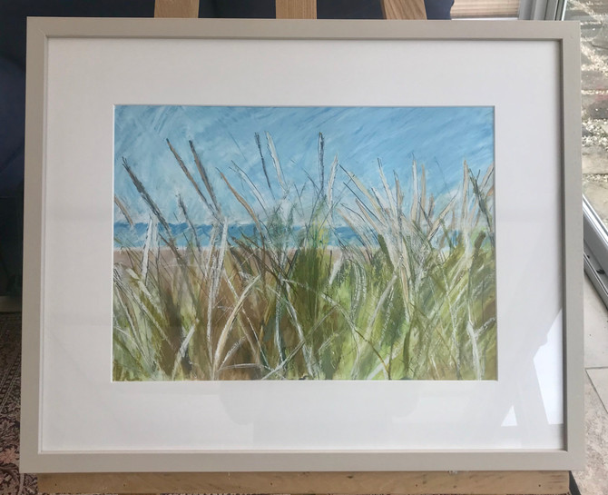 Framed! 59cm x 48cm for sale!😀Oil pastel and graphite drawing of grass at Bude beach, Cornwall. For