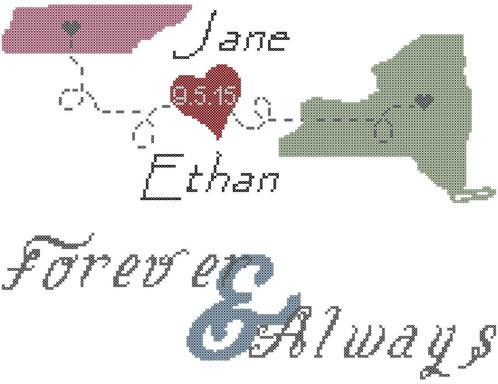 Modern wedding cross stitch pattern, Bride and Groom States