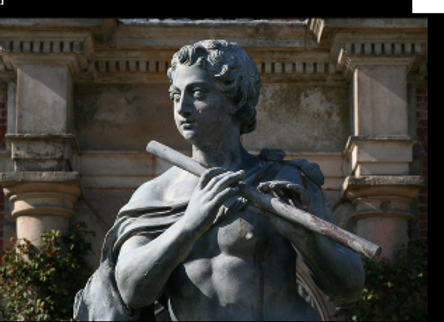 Greek god Pan playing the flute