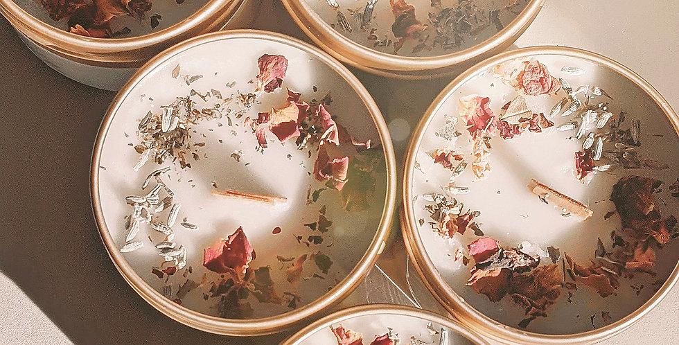 Wholesale-Botanical Art Tin Candle