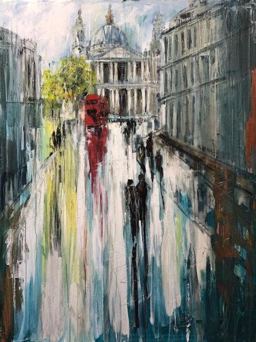 Walking to St Pauls by Jane Vaux 120x100cm