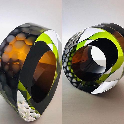 Small Cut  Glass green by Graeme H