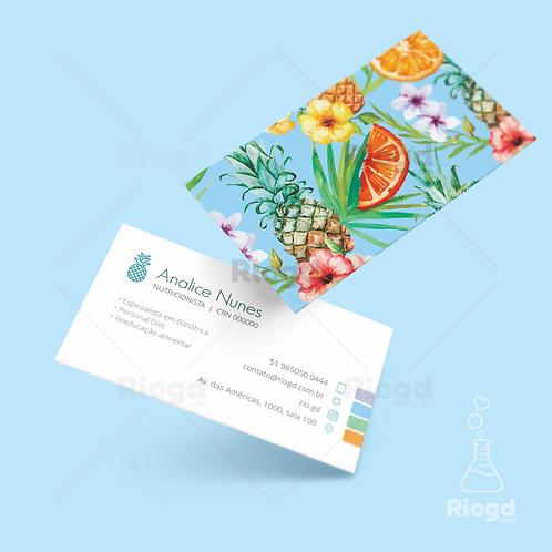 Cartão de Visita Personalizado para Nutricionista Tropical Bali