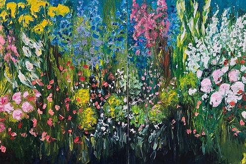 Flowers by Jane Vaux 2x 100x100cm