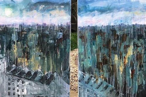 London Skyline by Jane Vaux 2x 120x100cm