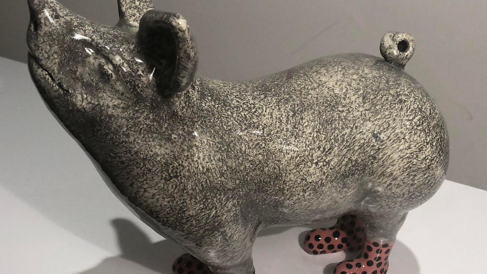 Pig in Boots Pink, ceramics by Jon D