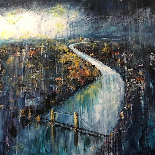 London from the Sky by Jane Vaux 100x100cm