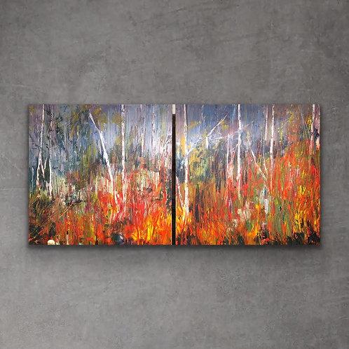 Vibrant Woods by Jane Vaux  2x 100x100cm
