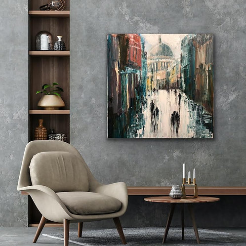 Walking of  St. Pauls Cathedral by Jane Vaux 100x100cm