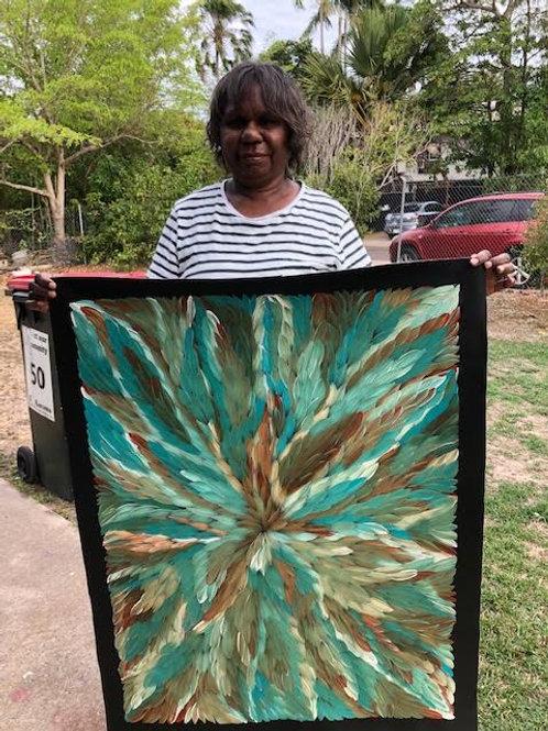 Bush Medicine Leaves Kookaburra, Caroline Numina 97x73cm